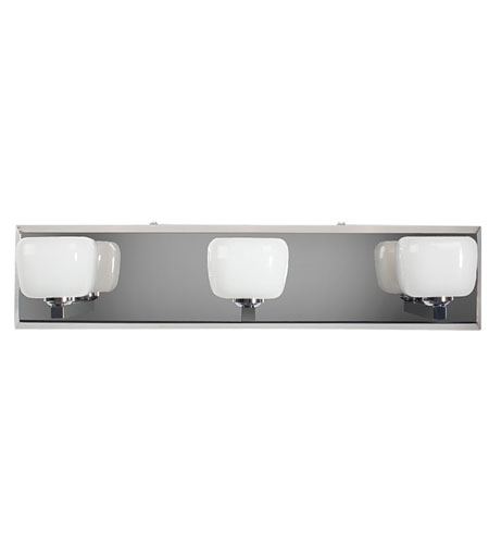 Alternating Current Opaltine 3 Light Vanity in Polished Stainless Steel AC1083 photo
