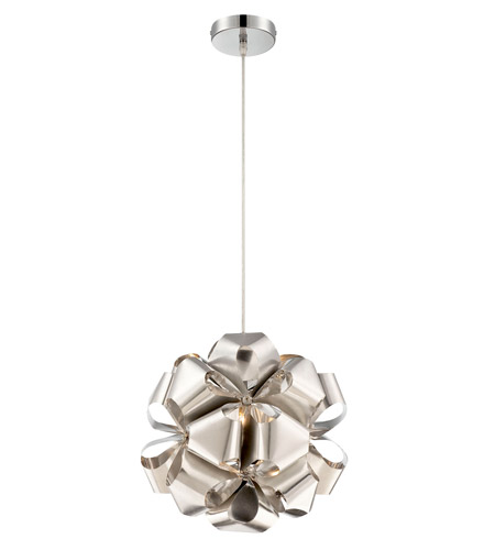 Alternating Current AC1111 Cindy 1 Light 14 inch Polished Stainless Steel Mini Pendant Ceiling Light photo