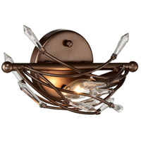 Offshoot 1 Light 12 inch Bronze Vanity Wall Light, Premium Pre-Installed Crystal