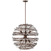 Offshoot 6 Light 25 inch Bronze Pendant Ceiling Light, Premium Pre-Installed Crystal