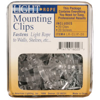 American Lighting LR-CLIP-20 LED Rope Light Kit Collection Clear Mounting Clips