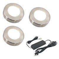 American Lighting OMNI-3KIT-NK Omni LED Puck Light Collection 12V LED 3 inch Nickel Undercabinet