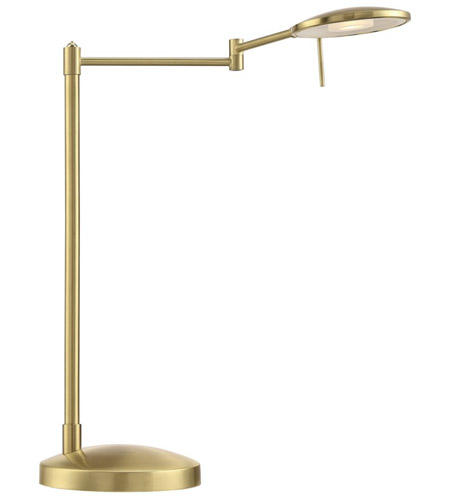 Arnsberg 525870108 Dessau Turbo 18 inch 10 watt Satin Brass Desk Lamp Portable Light photo thumbnail