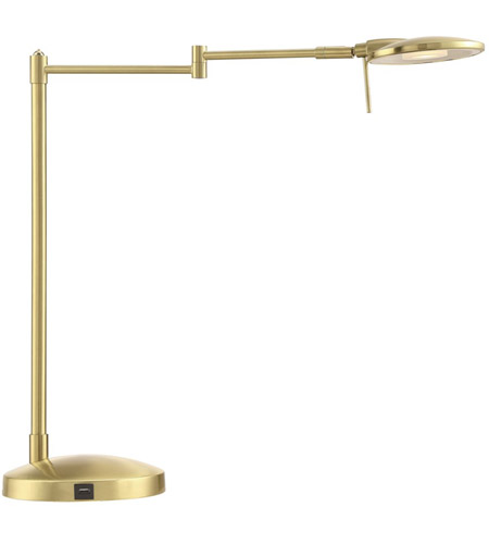 Arnsberg 525890108 Dessau Turbo Swing 22 inch 10 watt Satin Brass Desk Lamp Portable Light, with USB Port photo thumbnail