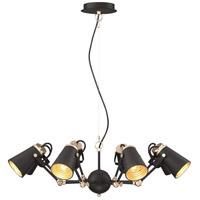 Arnsberg 308800832 Edward 1 Light Black and Brass Pendant Ceiling Light