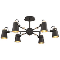 Arnsberg 608800632 Edward 6 Light 32 inch Black and Brass Pendant Ceiling Light
