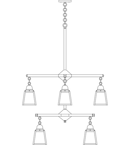 Arroyo Craftsman ACH-4/4TWO-BK A-Line 8 Light 29 inch Satin Black Foyer Chandelier Ceiling Light in White Opalescent, T-Bar Overlay, T-Bar Overlay photo