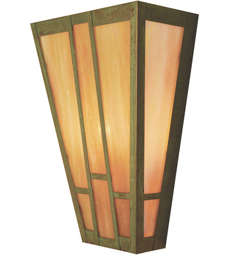 Arroyo Craftsman AS-12GW-VP Asheville 2 Light 12 inch Verdigris Patina Wall Mount Wall Light in Gold White Iridescent photo