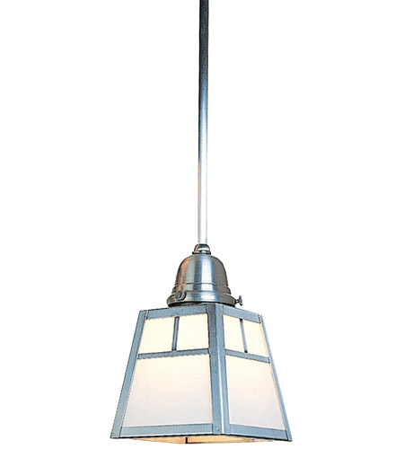 Arroyo Craftsman ASH-1TWO-P A-Line 1 Light 5 inch Pewter Pendant Ceiling Light in White Opalescent photo