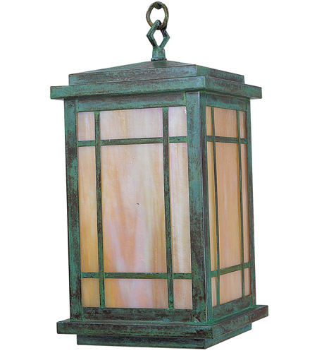 Arroyo Craftsman AVH-8GW-VP Avenue 1 Light 8 inch Verdigris Patina Pendant Ceiling Light in Gold White Iridescent photo