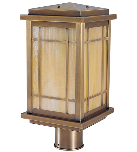 Arroyo Craftsman AVP-8GW-AB Avenue 1 Light 13 inch Antique Brass Post Mount in Gold White Iridescent photo