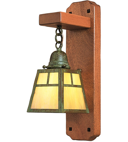Arroyo Craftsman AWS-1TGW-VP A-Line 1 Light 5 inch Verdigris Patina Wall Mount Wall Light in Gold White Iridescent photo