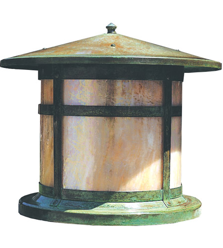 Arroyo Craftsman BC-14GW-VP Berkeley 1 Light 12 inch Verdigris Patina Column Mount in Gold White Iridescent photo