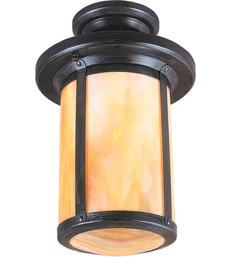 Arroyo Craftsman BCM-6GW-BZ Berkeley 1 Light 9 inch Bronze Semi-Flush Mount Ceiling Light in Gold White Iridescent photo