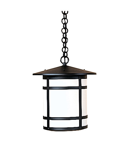 Arroyo Craftsman BH-11LWO-BK Berkeley 1 Light 11 inch Satin Black Pendant Ceiling Light in White Opalescent photo