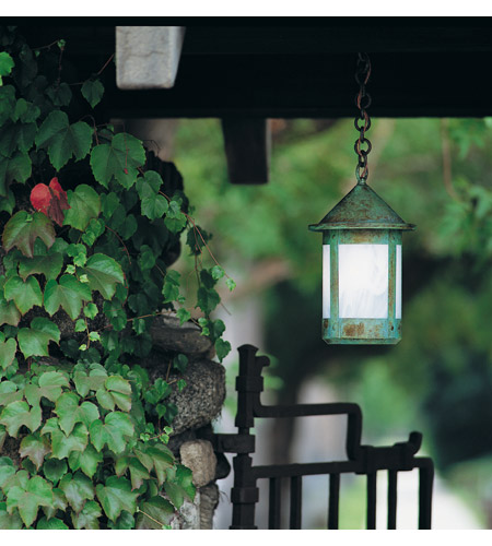 Arroyo Craftsman BH-8WO-VP Berkeley 1 Light 8 inch Verdigris Patina Pendant Ceiling Light in White Opalescent photo