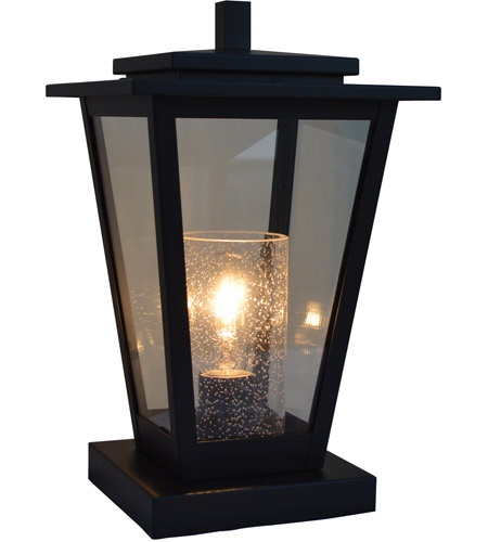 Arroyo Craftsman Brc 8clr Cs S Brighton 1 Light 13 Inch Slate Column Mount In Clear With Seedy Inner Cylinder