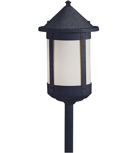 Arroyo Craftsman BSP-6WO-BK Berkeley 60 watt Satin Black Landscape Light in White Opalescent photo
