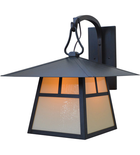 Arroyo Craftsman CB-15HAM-BK Carmel 1 Light 19 inch Satin Black Outdoor Wall Mount in Almond Mica