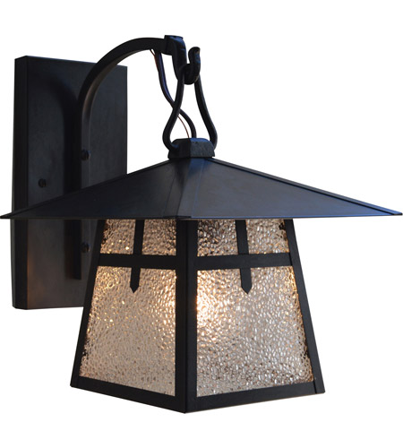 Arroyo Craftsman CB-8ERM-BK Carmel 1 Light 10 inch Satin Black Outdoor Wall Mount in Rain Mist