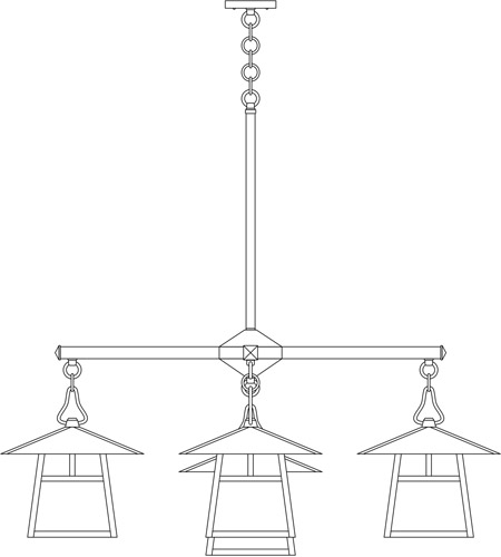 Arroyo Craftsman CCH-12/4-1TGW-BK Carmel 5 Light 42 inch Satin Black Dining Chandelier Ceiling Light in Gold White Iridescent, T-Bar Overlay, T-Bar Overlay photo