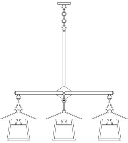 Arroyo Craftsman CCH-12/4TWO-BK Carmel 4 Light 42 inch Satin Black Dining Chandelier Ceiling Light in White Opalescent, T-Bar Overlay, T-Bar Overlay photo
