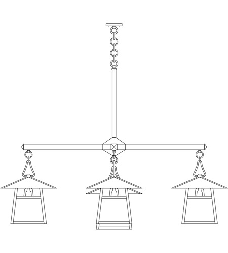 Arroyo Craftsman CCH-15/4-1HRM-BK Carmel 5 Light 61 inch Satin Black Foyer Chandelier Ceiling Light in Rain Mist, Hillcrest Overlay, Hillcrest Overlay