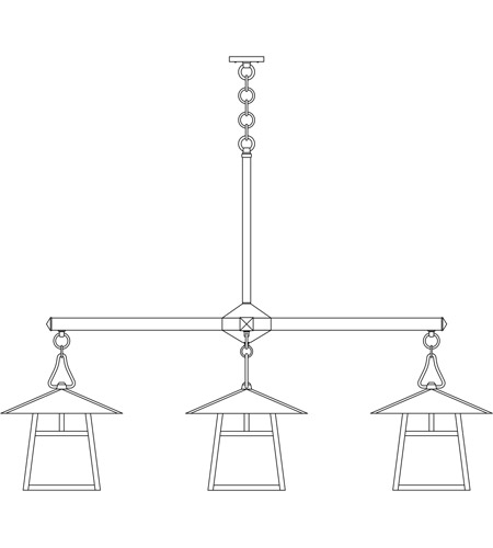 Arroyo Craftsman CCH-15/4TOF-BK Carmel 4 Light 61 inch Satin Black Foyer Chandelier Ceiling Light in Off White, T-Bar Overlay, T-Bar Overlay photo