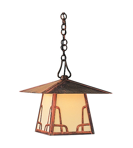 Arroyo Craftsman CH-12TM-VP Carmel 1 Light 12 inch Verdigris Patina Pendant Ceiling Light in Amber Mica