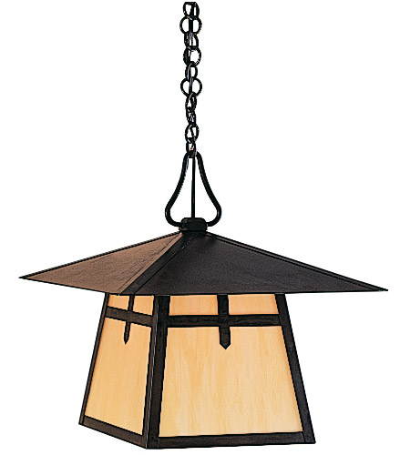 Arroyo Craftsman CH-15BM-P Carmel 1 Light 15 inch Pewter Pendant Ceiling Light in Amber Mica