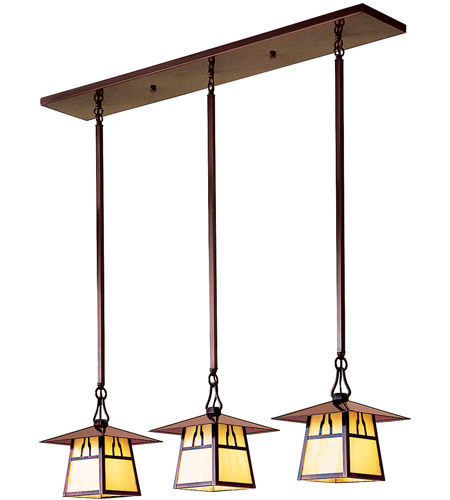 Arroyo Craftsman CICH-8/3HRM-BK Carmel 3 Light 36 inch Satin Black In-Line Chandelier Ceiling Light in Rain Mist, Hillcrest Overlay, Hillcrest Overlay
