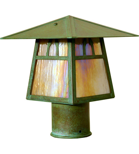 Arroyo Craftsman CP-8BGW-AC Carmel 1 Light 7 inch Antique Copper Post Mount in Gold White Iridescent photo