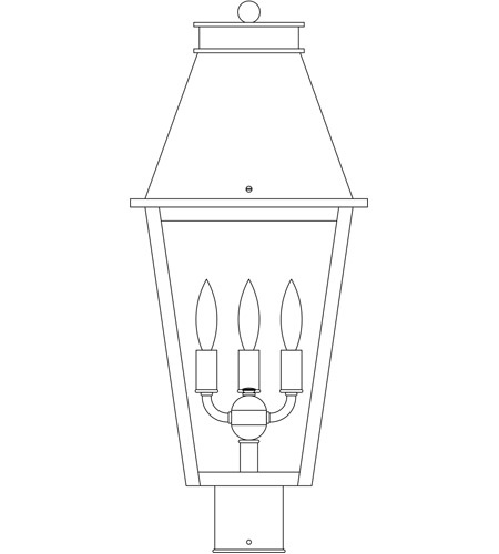 Arroyo Craftsman CRP-10CLR-BK Croydon 3 Light 21 inch Satin Black Post Mount in Clear photo
