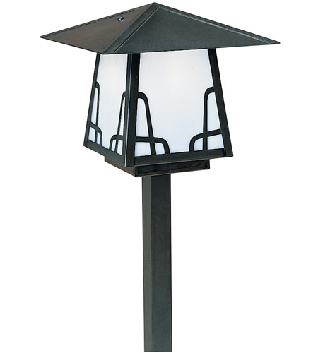 Arroyo Craftsman CSP-8BWO-BK Carmel 60 watt Satin Black Outdoor Landscape in White Opalescent, Bungalow Overlay, Bungalow Overlay