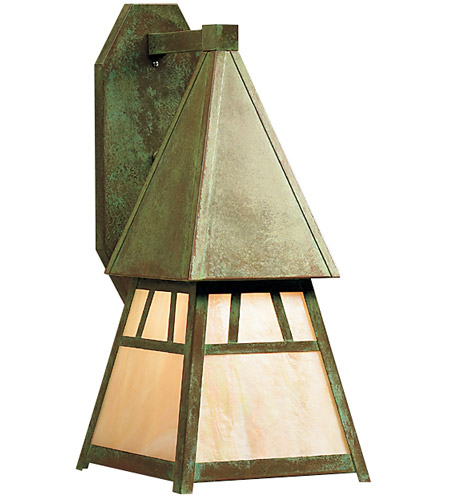 Arroyo Craftsman DS-8GW-VP Dartmouth 1 Light 10 inch Verdigris Patina Wall Mount Wall Light in Gold White Iridescent photo thumbnail