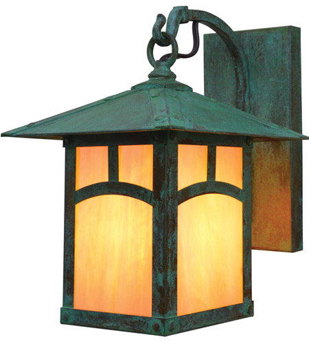 Arroyo Craftsman EB-7PFM-AB Evergreen 1 Light 7 inch Antique Brass Wall Mount Wall Light in Amber Mica photo