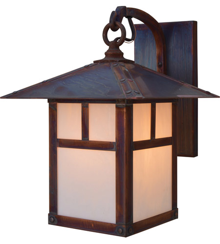 Arroyo Craftsman EB-9ERM-AC Evergreen 1 Light 9 inch Antique Copper Wall Mount Wall Light in Rain Mist photo