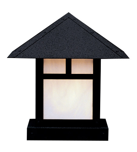Arroyo Craftsman EC-12TWO-BK Evergreen 1 Light 13 inch Satin Black Column Mount in White Opalescent photo thumbnail
