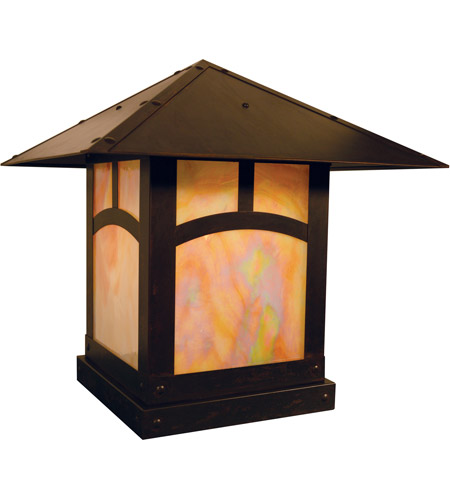 Arroyo Craftsman EC-16AGW-BZ Evergreen 1 Light 16 inch Bronze Column Mount in Gold White Iridescent photo thumbnail