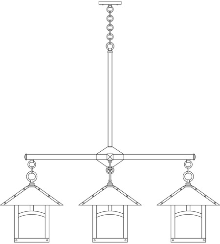Arroyo Craftsman ECH-12/4AAM-BK Evergreen 4 Light 42 inch Satin Black Foyer Chandelier Ceiling Light in Almond Mica, Classic Arch Overlay, Classic Arch Overlay photo