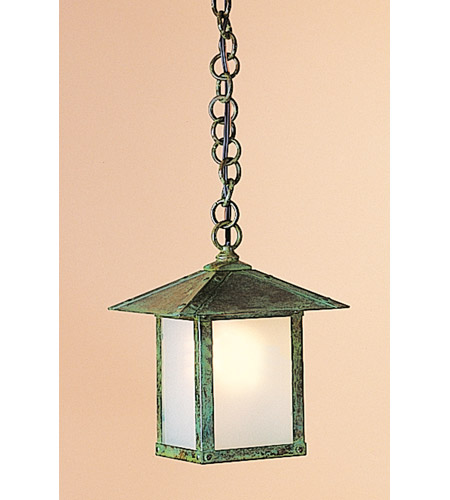Arroyo Craftsman EH-7EF-VP Evergreen 1 Light 7 inch Verdigris Patina Pendant Ceiling Light in Frosted photo