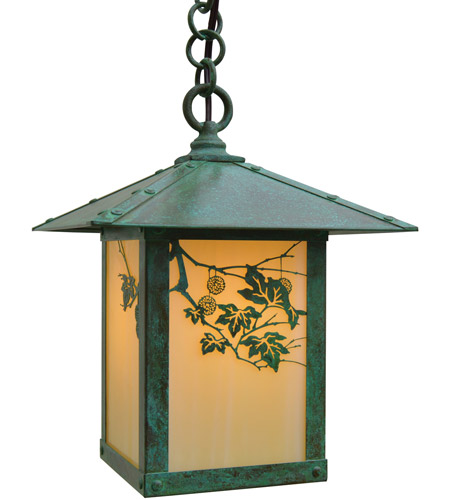 Arroyo Craftsman EH-9SFOF-VP Evergreen 1 Light 9 inch Verdigris Patina Pendant Ceiling Light in Off White photo thumbnail