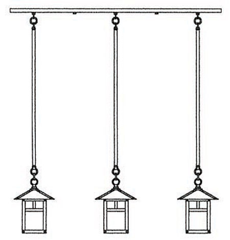 Arroyo Craftsman EICH-7/3TCS-BK Evergreen 3 Light 36 inch Satin Black In-Line Chandelier Ceiling Light in Clear Seedy, T-Bar Overlay, T-Bar Overlay photo