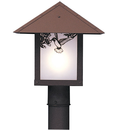 Arroyo Craftsman EP-12SFAM-RB Evergreen 1 Light 12 inch Rustic Brown Post Mount in Almond Mica photo