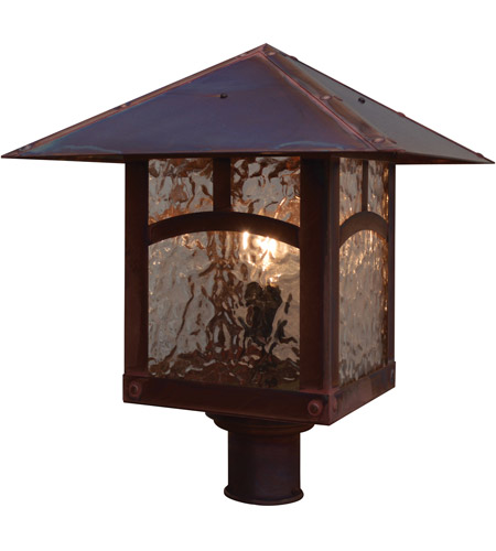 Arroyo Craftsman EP-16PFGW-AB Evergreen 1 Light 15 inch Antique Brass Post Mount in Gold White Iridescent photo