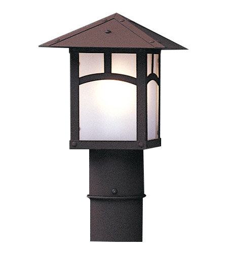Arroyo Craftsman EP-7PFM-BK Evergreen 1 Light 8 inch Satin Black Post Mount in Amber Mica photo