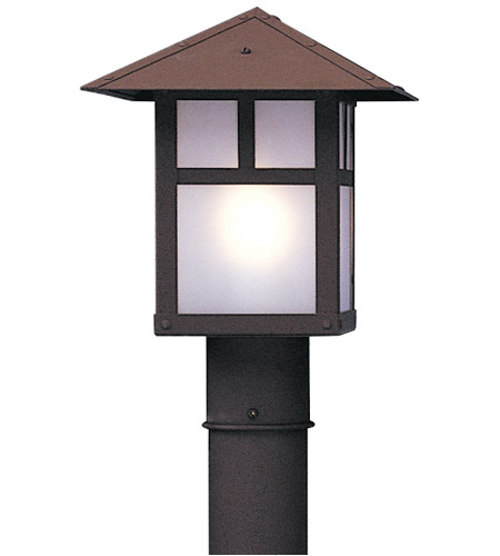 Arroyo Craftsman EP-9PFWO-RB Evergreen 1 Light 10 inch Rustic Brown Post Mount in White Opalescent photo