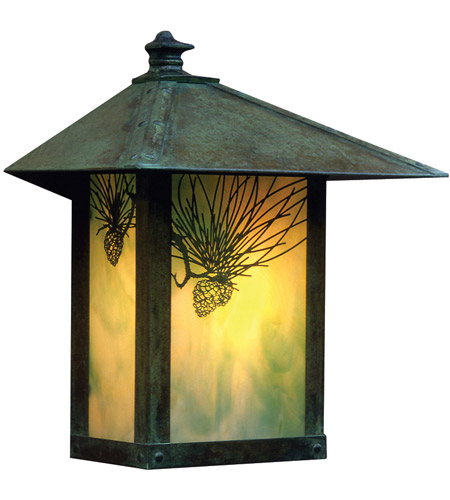 Arroyo Craftsman EW-16SFAM-VP Evergreen 1 Light 17 inch Verdigris Patina Outdoor Wall Mount in Almond Mica photo