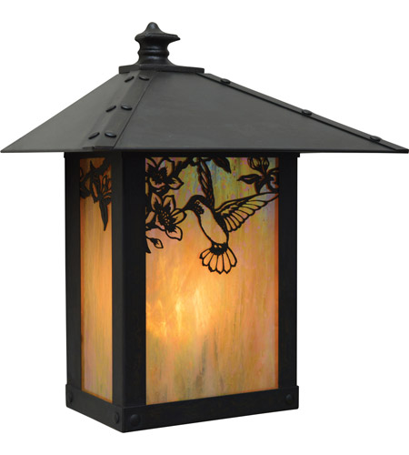 Arroyo Craftsman EW-9AM-P Evergreen 1 Light 11 inch Pewter Outdoor Wall Mount in Amber Mica photo