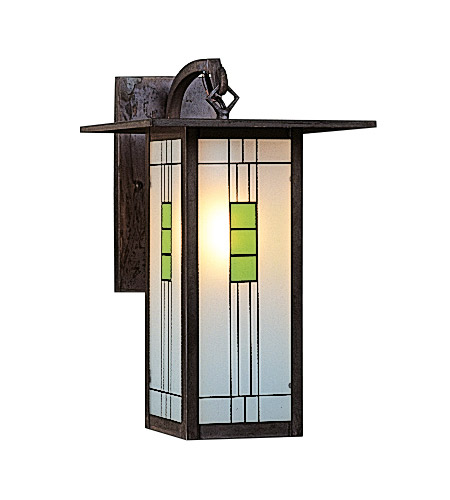Arroyo Craftsman FB-9LG-MB Franklin 1 Light 9 inch Mission Brown Wall Mount Wall Light in Green and Black Silk Screen photo